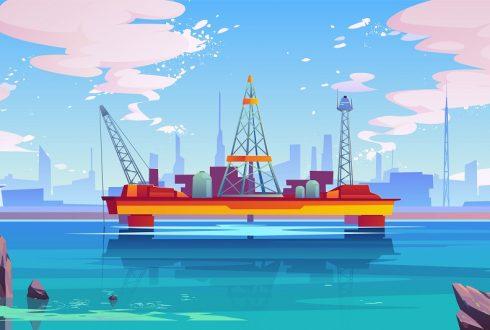 Oil derrick, rig semisubmersible platform, pump